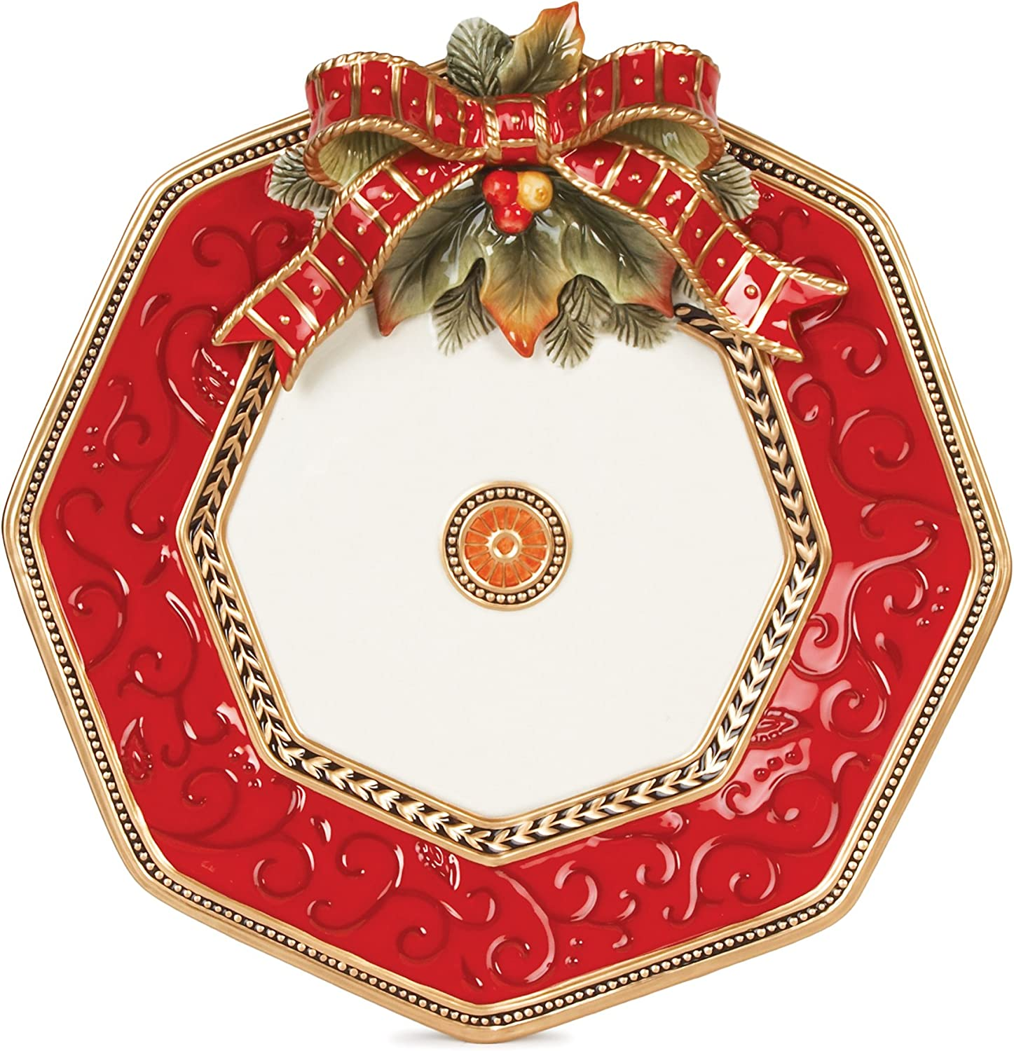 Fitz and Floyd Damask Holiday Collection Accent Salad Plate Vintage Red /& Gold