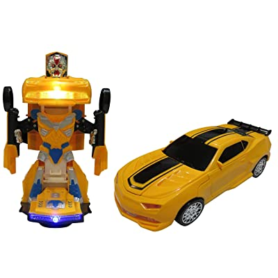 Car Transforms into Robot Car Toys for Children Bump and Go Action with Lights and Scary Sounds: Toys & Games