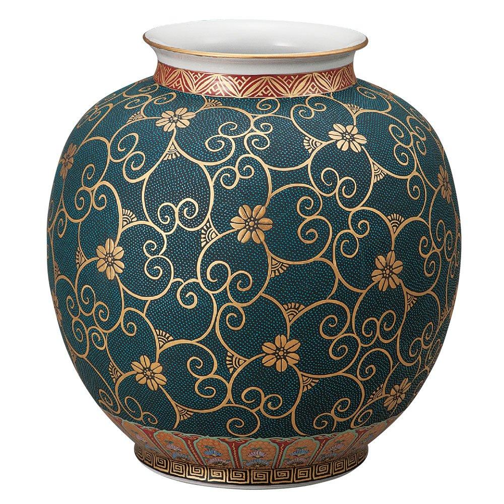 九谷焼 陶器 花瓶 本金青粒鉄仙 AK5-1353 B0721C18FP