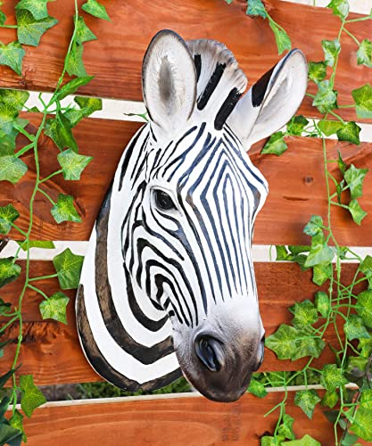 Ebros Gift Realistic Safari Madagascar Large Zebra Horse Head Wall Decor Plaque 16″Tall Faux Taxidermy Art Decor Sculpture African Equid