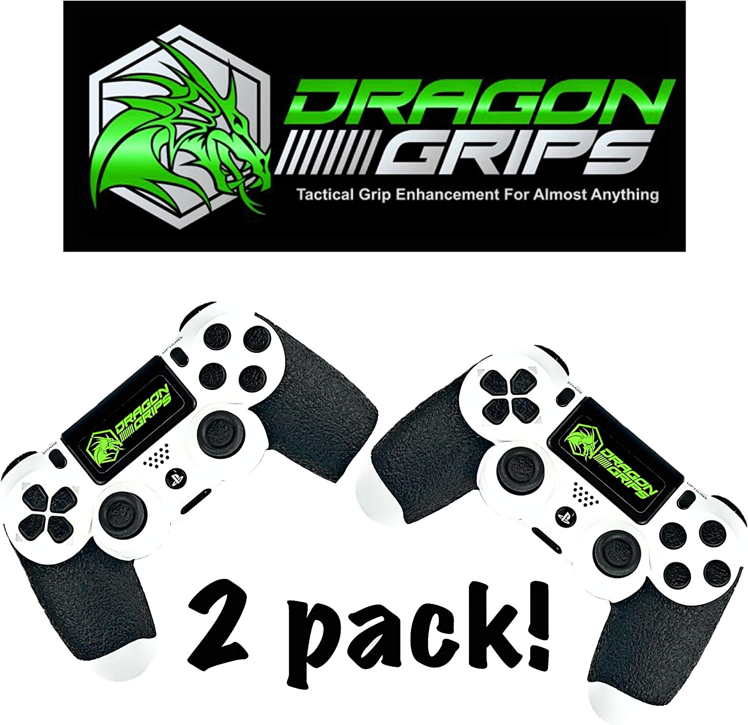 Dragon Grips PS4 Controller Grip Set Controller Accessories ps4 Controller Grip Black Textured Rubber mod Pack Including Paddles, Trigger Control ps4 Controller mods (Black 2pack)