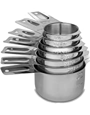 Cedara Living Stainless Steel Measuring Cups [Set of 7] - Dishwasher Safe - Heavy Duty Stainless Steel Nesting / Stack-able Measuring Cups for Dry or Liquid Ingredients - Bonus 1/8th Metal Measuring Cup Included
