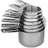 Cedara Living - Stainless Steel Measuring Cups [Set of 7] - Dishwasher Safe - Heavy Duty Stainless Steel Nesting / Stackable Measuring Cups for Dry or Liquid Ingredients - Bonus 1/8th Metal Measuring Cup Included