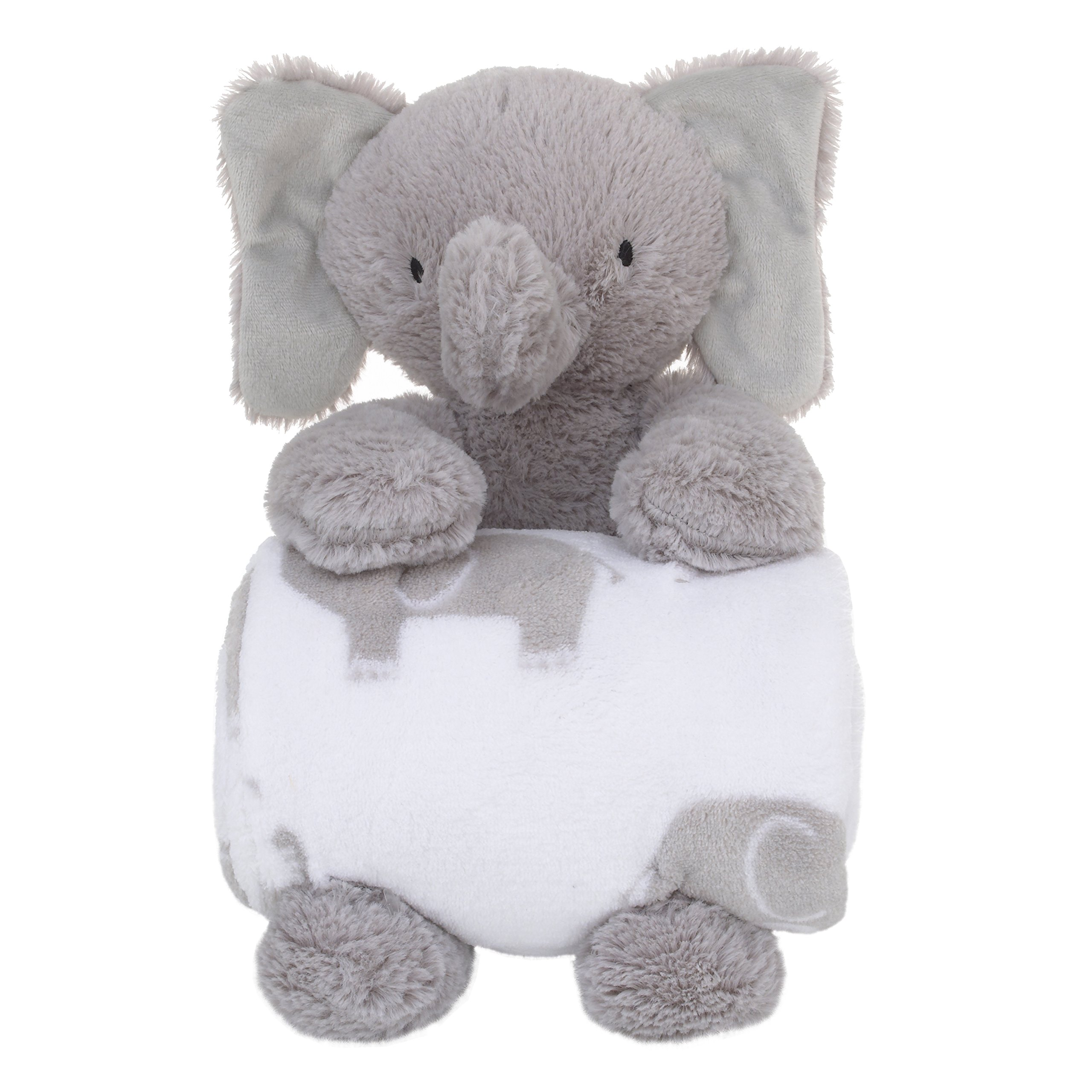 Little Love by NoJo Super Soft Plush and Blanket Elephant, Gray, White Gift Set
