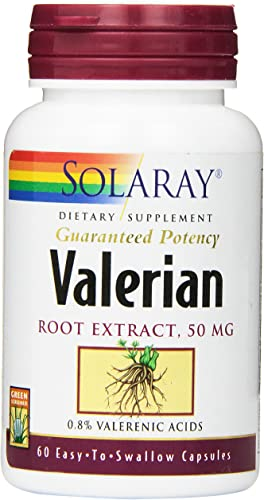 Solaray Guaranteed Potency Valerian Root Extract 50 mg Capsules, 60 Count
