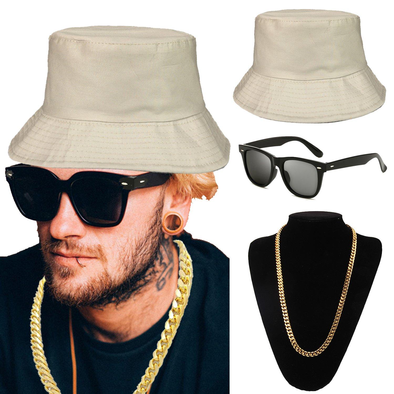 ZeroShop 80s/90s Hip Hop Costume Kit - Cotton Bucket Hat,Gold Chain Beads,Oversized Rectangular Hip Hop Nerdy Lens Sunglasses (OneSize, Beige)