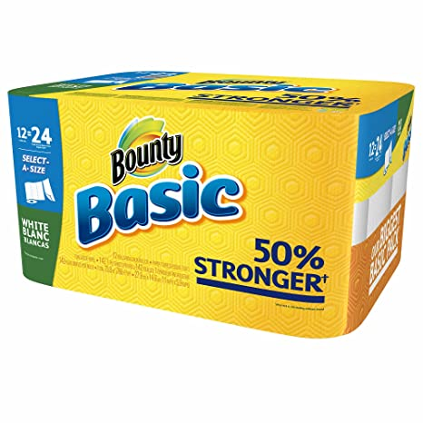 Bounty Basic select-a-size toallas de papel, 12 doble rollos (Pack