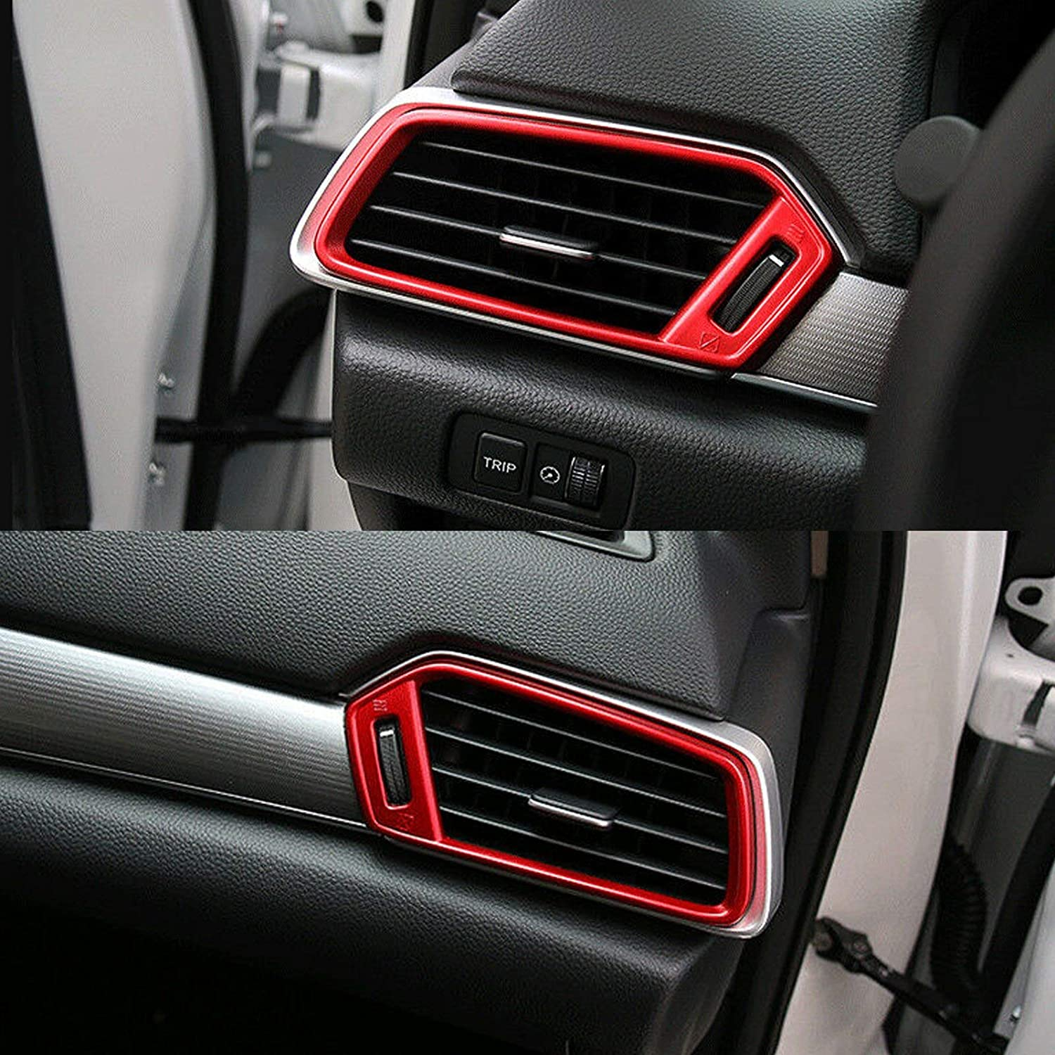 Xotic Tech for Honda Accord 2018 2019 Dashboard Air Vent AC Outlet Cover Frame Trim Red Interior Decoration