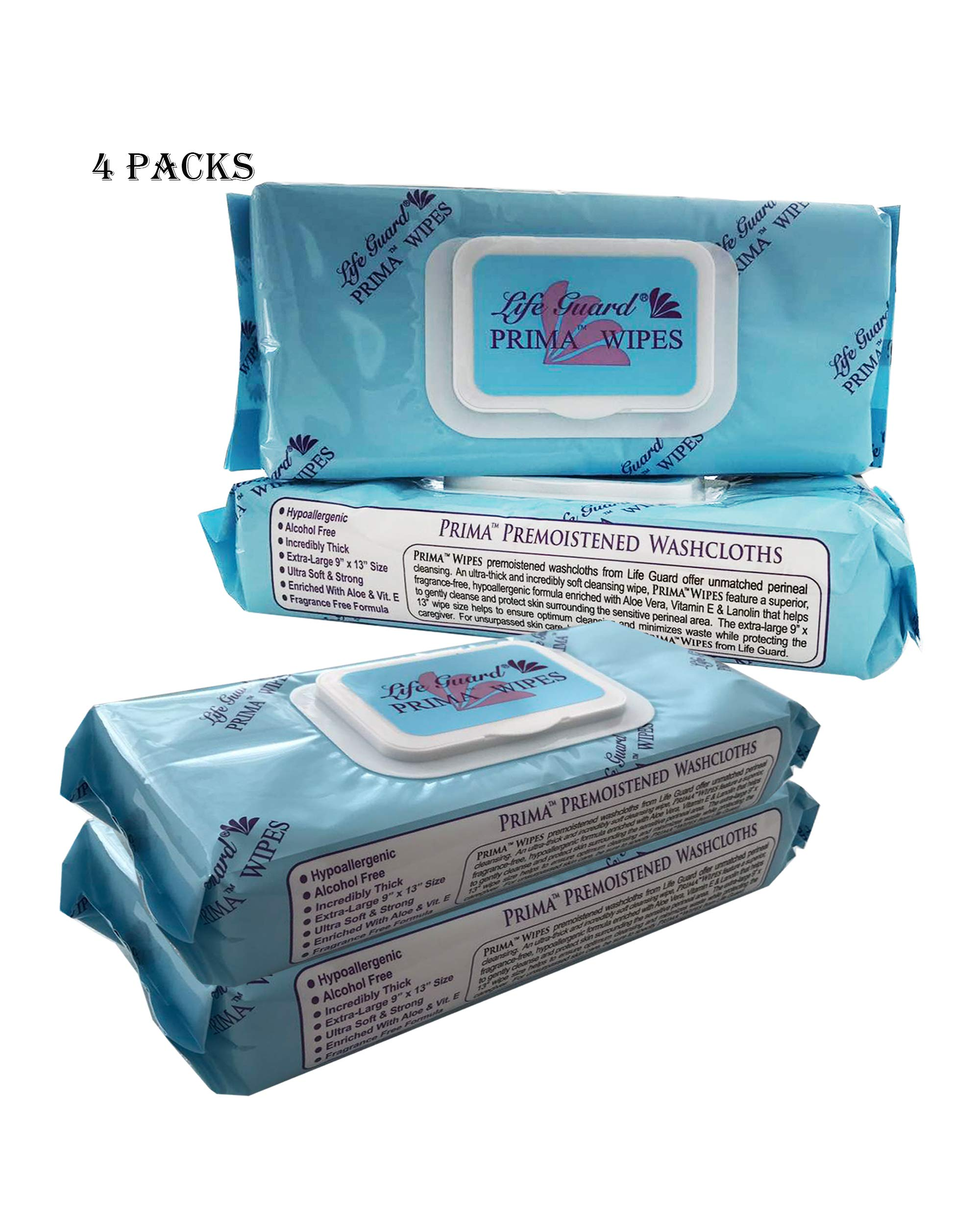 4 Packs-PREMIUM (13''x 9'' XL), Disposable Adult Washcloth/Moist Cleaning Wipes, Alcohol-Free, Ultra Soft/Strong, Fragrance-Free Formula,Prefect For Personal Cleaning, Travel, Bath-by LP Supply