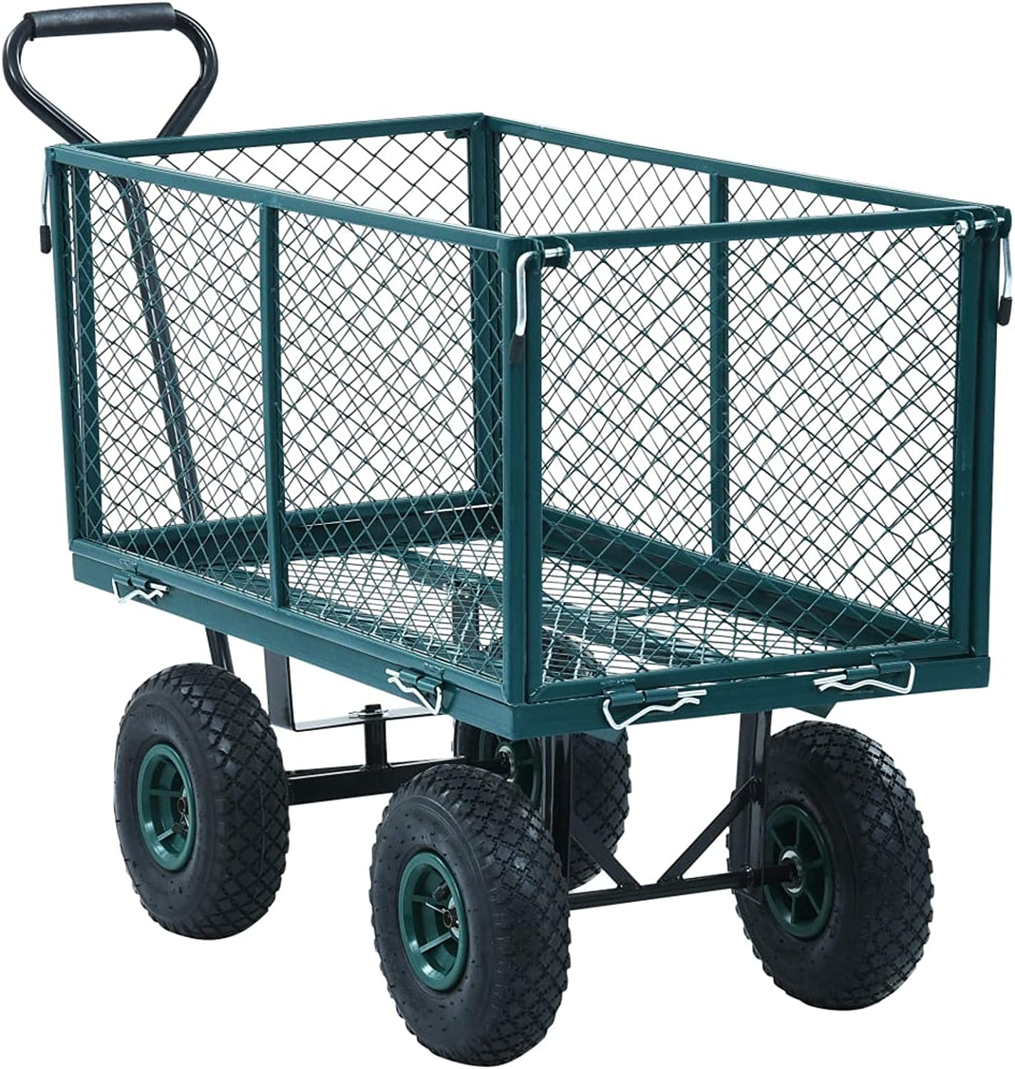 Tidyard Garden Trolley Cart Utility Steel Padded Handle Outdoor Wagon Heavy Duty Hand Truck with Openable Side Panels and Wheels Green 771 Lbs Capacity for Grocery, Camping, Gardening, Beach, Yard