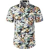 JOGAL Men's Summer Flower Regular Fit Button Down Casual Short Sleeve Aloha Hawaiian Shirt