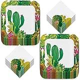 Fiesta Party Dinner Plates and Beverage Napkins Set - Cactus Succulent Design - Serves 16