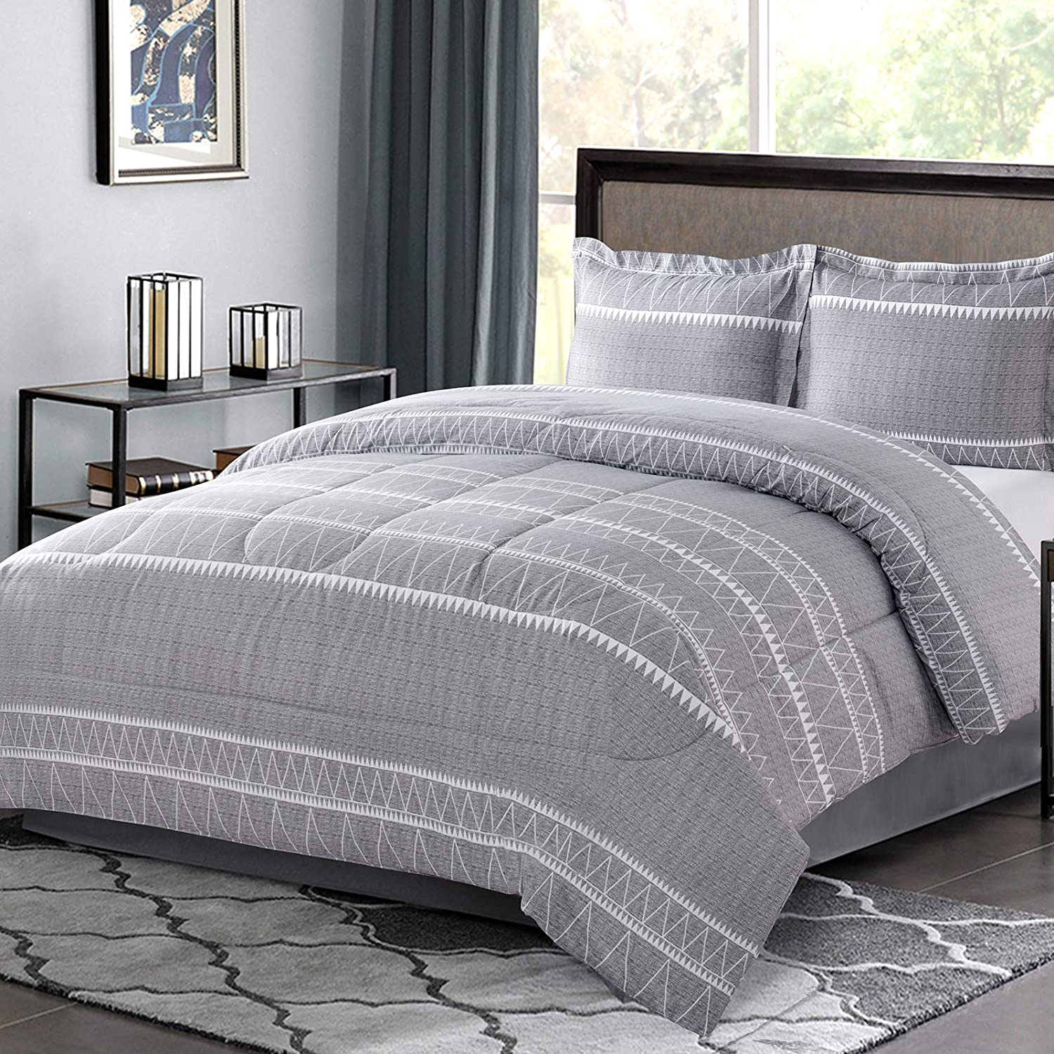 Shatex Bedding Sets Queen with Comforter 3 Pieces Bedding Comforter Sets Queen Size – Ultra Soft 100% Microfiber Polyester – Stripes Pattern Printed Grey Queen Comforter with 2 Pillow Shams