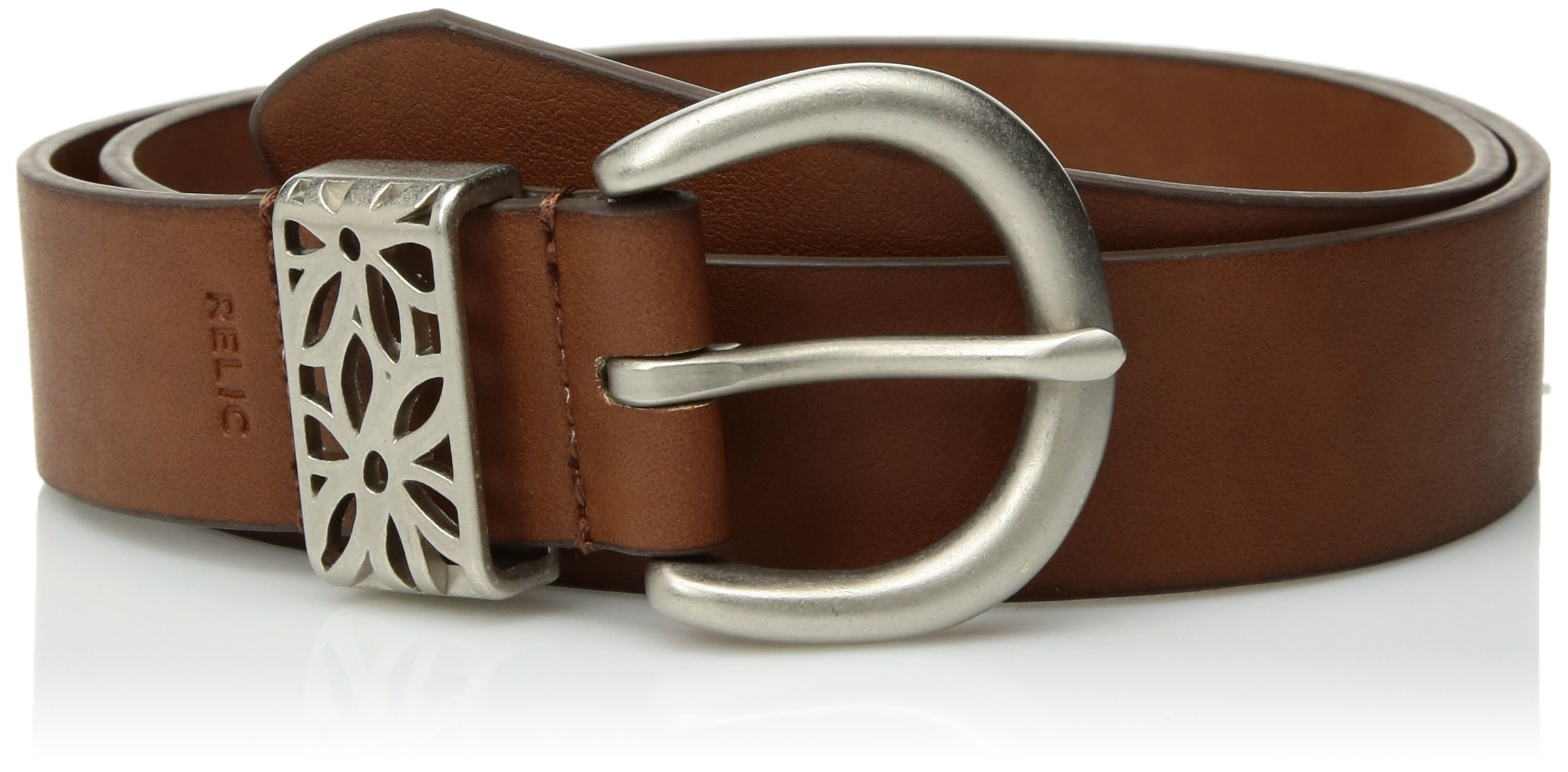 Relic Womens Flower Perforated Keeper Belt, Saddle, 1X