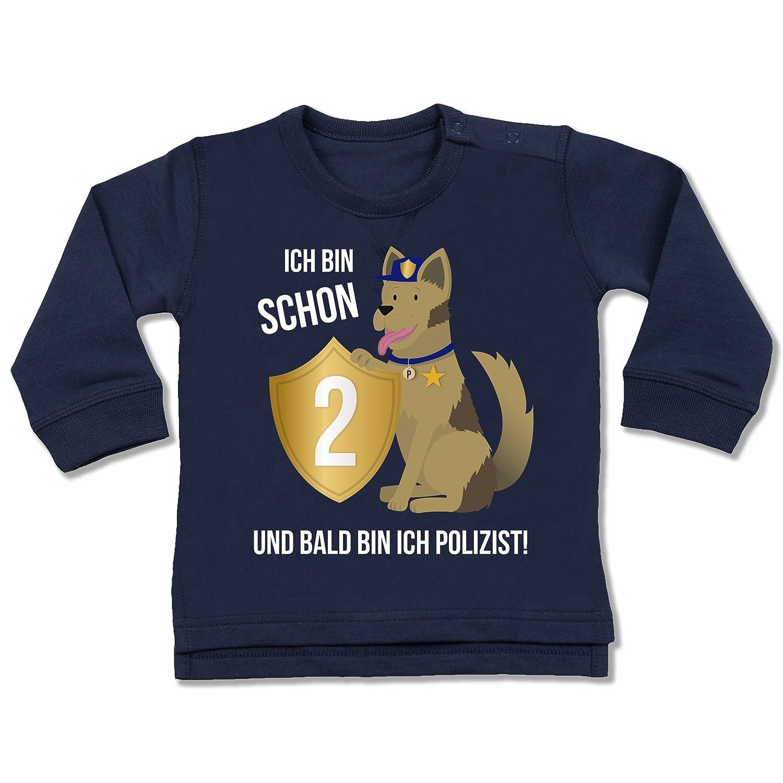 Shirtracer Geburtstag Baby - Ich Bin Schon 2 Polizei - Baby Pullover Shirtracer Geburtstag Baby - Ich Bin Schon 2 Polizei - 6-12 Monate - Navy Blau - BZ31 - Baby Pullover