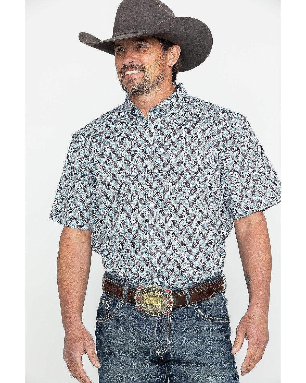 Ccsu19w17 Cody James Mens Core Dragon Geo Print Short Sleeve Western Shirt