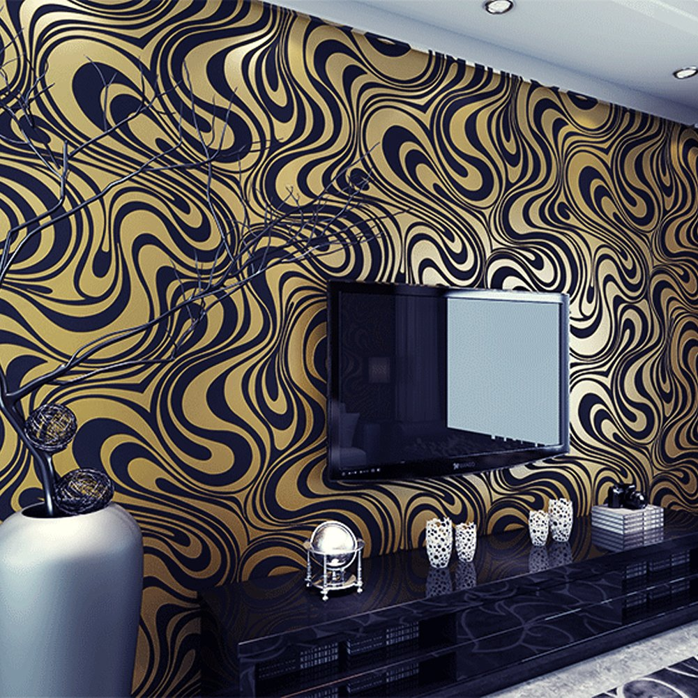 HANMERO® Murales decorativos pared papel pintado rayas no tejido papel de pared dormitorios/salón/hotel/fondo de TV/color blanco plateado, 0.7M*8.4M QZ0249