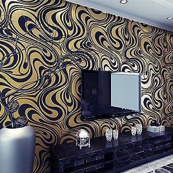 golden hanmero modern minimalist abstract curves glitter non wovengolden hanmero modern minimalist abstract curves glitter non woven 3d wallpaper for bedroom living room tv backdrop golden \u0026 black amazon in home