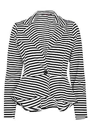 3fcd09bc Zara Fashion -Womens Stripe Print Peplum Long Sleeves Button Blazer Top (4,  BLACK