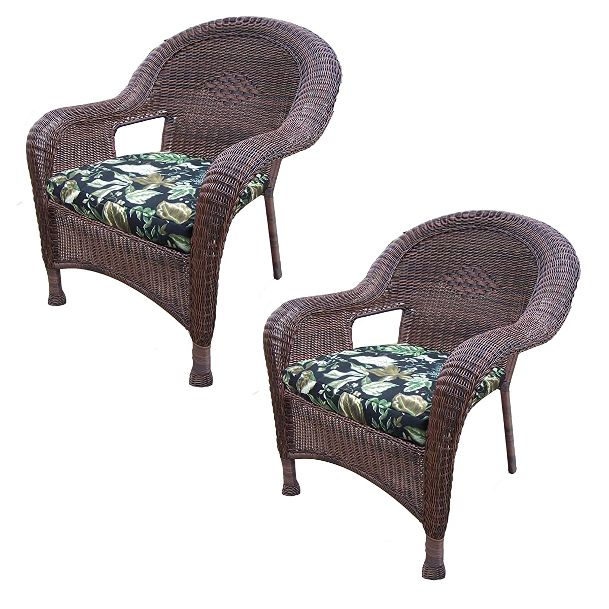 Oakland Living Resin Wicker Arm Chair with Cushion 90030-C-BF-CF Pack of 2