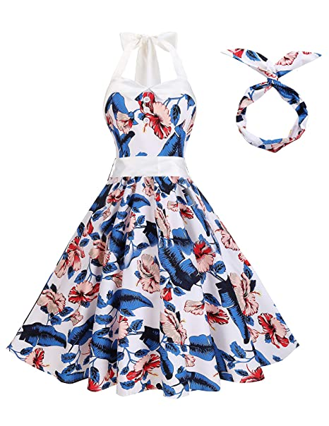 2da002b727a Lolichy Women Retro 1950s Blue and White Floral Printed Vintage Halter Style  Summer Cocktail Party Dresses