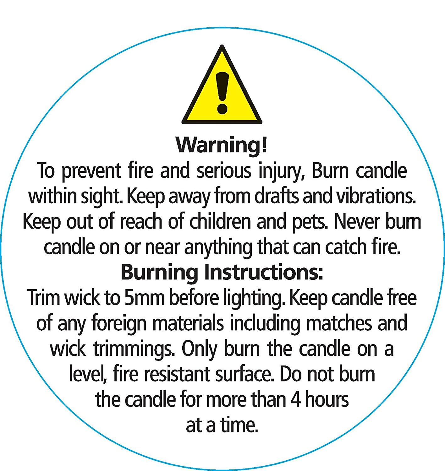 Candleworx High Quality Large Safety Stickers 10 Randall's Candles