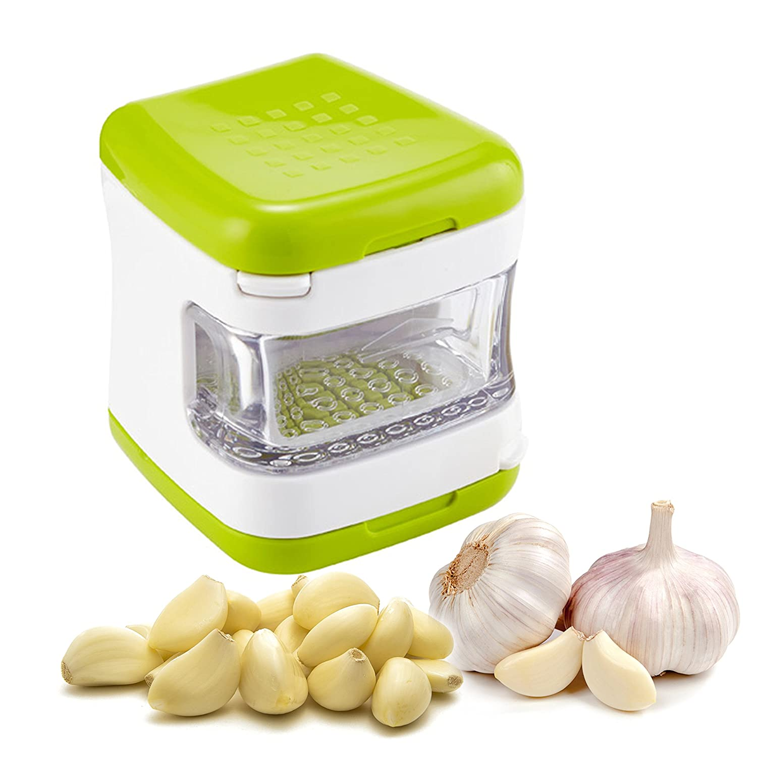Premium Quality Clear Plastic Garlic Press With Stainless Steel Blades & Built-In Tray By Yarmoshi - Durable & Sturdy Construction - Mincer & Slicer , Ergonomic Design , Practical Kitchen Utensil