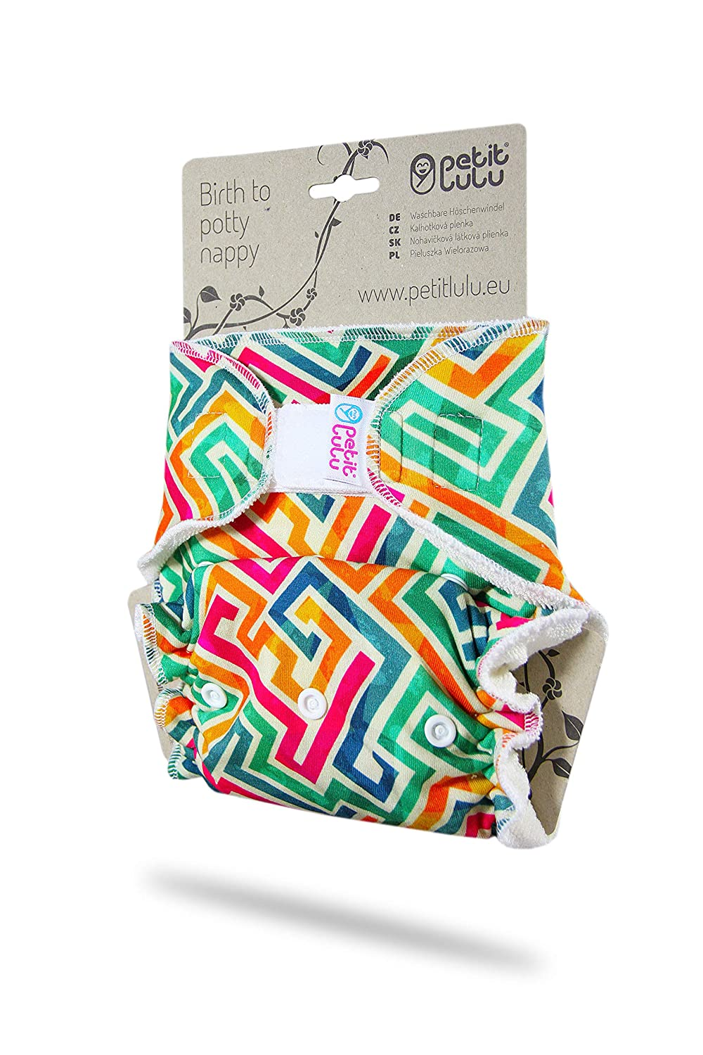 Reusable /& Washable Petit Lulu Bamboo Fitted One Size Diaper Made in Europe Hook /& Loop Cherries