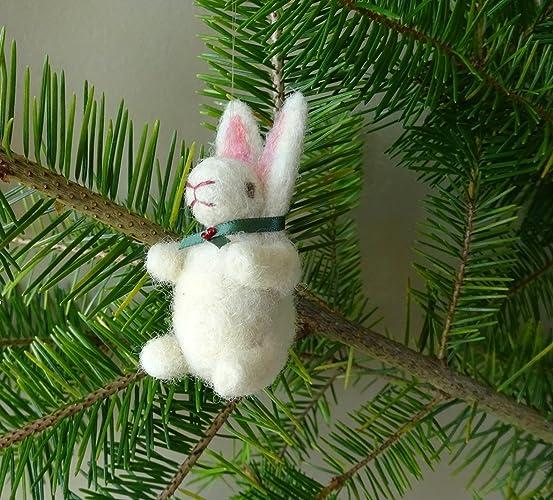 needle felt bunny rabbit christmas tree decoration rustic farmhouse style handmade tree ornament felted - Rustic Christmas Decorations Uk