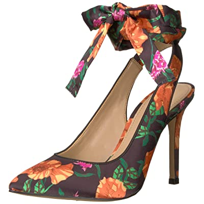 Brand - The Fix Women's Jillian Sling Back Pointed Toe Lace-up Pump, Black Poppy Floral Print Satin, 6 B US: Shoes