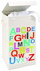 Smart Design Foldable Laundry Hamper w/Lid & Logo Design - Durable Canvas Design - for Clothes & Laundry - Home Organization (13.8 x 25.2 Inch) [ABC Print]
