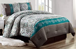 Grand Linen Luxury 4 Piece Bedding Pin Tuck Comforter Set in Dark Grey, Teal Blue and Gold - Queen Size Set