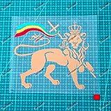 6 Lion of Judah Decal Sticker Car Vinyl Rasta Rastafari Flag Jamaica Ethiopia White Tricolor sda3