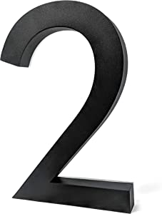 12 Inch Backlit LED House Numbers   Big, Modern Lights Address Signs for Homes   Soft, Exterior Glow   Stainless-Steel Black Finish   Weather Resistant, Durable   by JELSCO (2, Neutra Black)