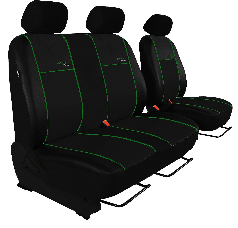 POK-TER-TUNING Maß gefertigte Sitzbezü ge fü r T5 Transporter Fahrersitz + 2er Beifahrersitzbank Design Kunst-Line. Hier mit Grü ner Lamelle