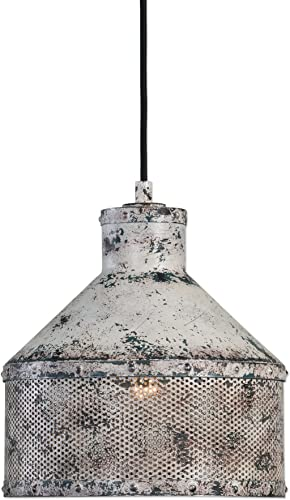 Rustic Distressed Grey Green Mesh Cottage Pendant Light Vintage Retro Industrial Metal Fixture