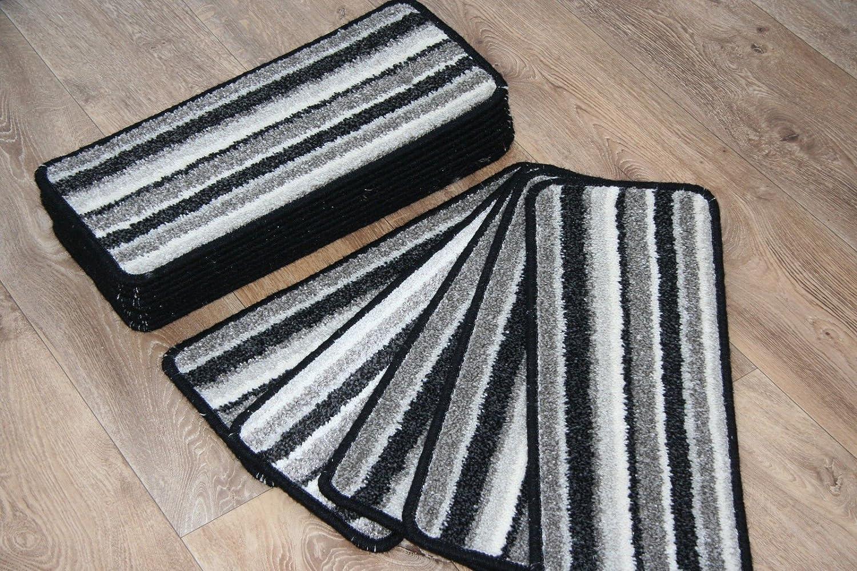 Austins Carpets 14 Striped Open Plan Carpet Stair Treads Splendid Silver Stripe 8inc x 20inc