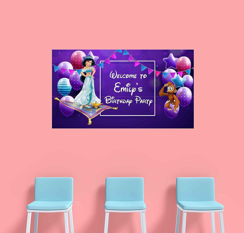 Princess Jasmine Birthday Banner Personalized Party Backdrop Decoration ikban18