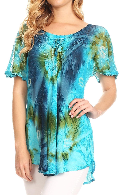 Sakkas Juniper Kurzarm Lace up Tie Dye Bluse mit Pailletten und Stickerei:  Amazon.de: Bekleidung