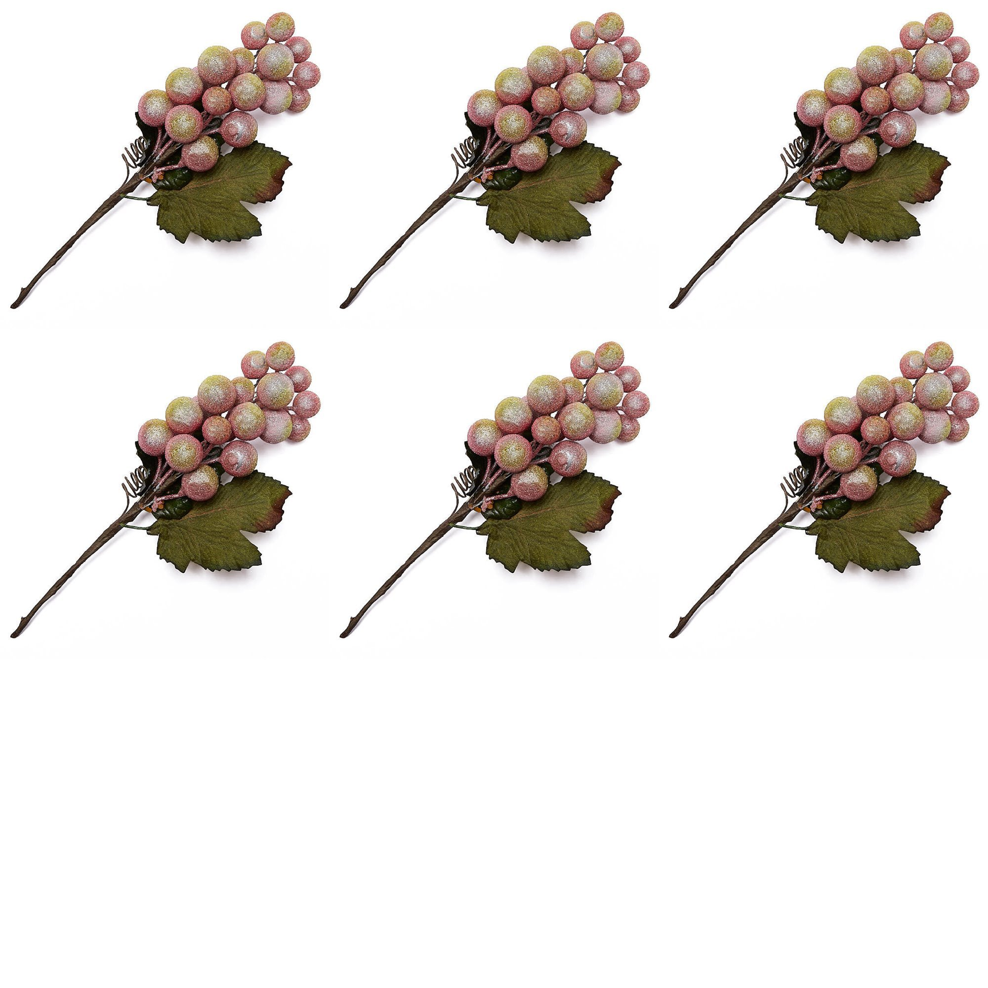 Factory Direct Craft Group of Artificial Icy Grape Cluster Picks for Holiday and Everyday Arranging - 6 Picks by Factory Direct Craft