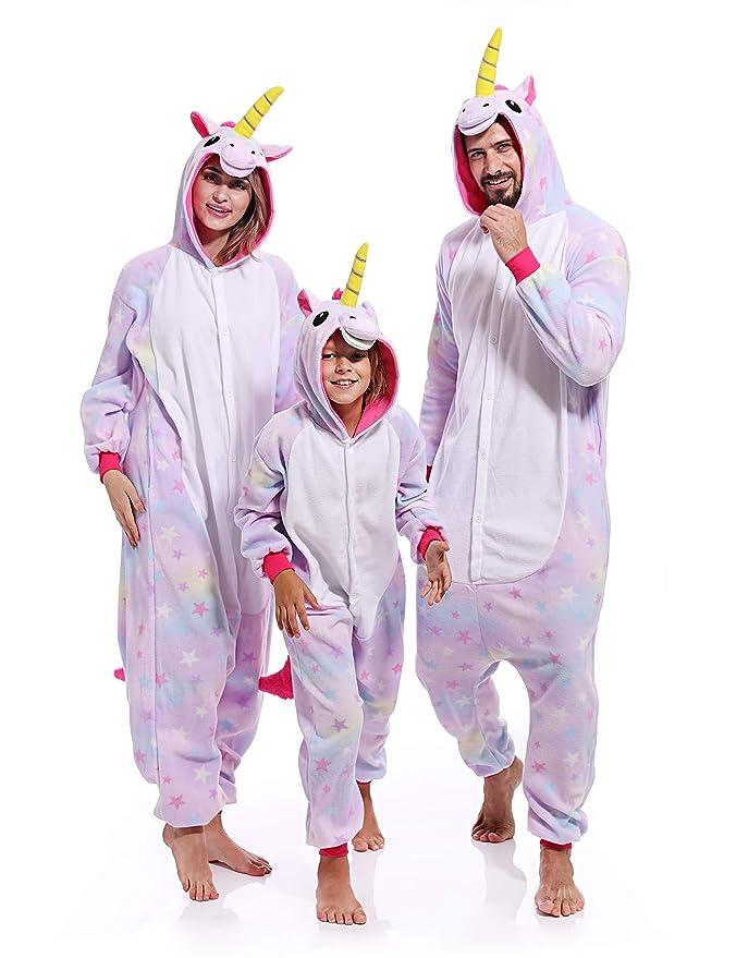 af8ce6b522 Amazon.com  Adult Unicorn Onesies for Women Aniaml Pajamas Plus One Piece  Cosplay Halloween Costume for Women Men  Clothing
