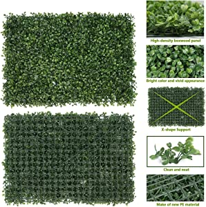 RAUVOLFIA Pack of 6 Artificial Boxwood Panels Topiary Hedge Plant Privacy Screen Outdoor Indoor Use Garden Fence Backyard Backdrop Home Decor Greenery Walls 16 x 24 inch