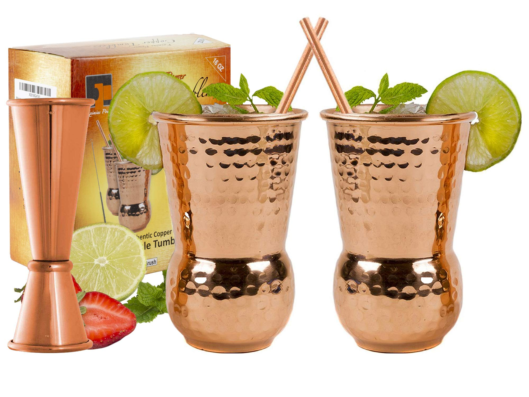 EXTRA THICK HEFTY 20 Gauge Moscow Mule Copper Mugs by Eximius Power | 100% Pure Food Safe Copper Drinking Cups |16 oz Hammered Design Handcrafted Tumblers | Bonus Jigger and 2 Straws (2) by Eximius Power