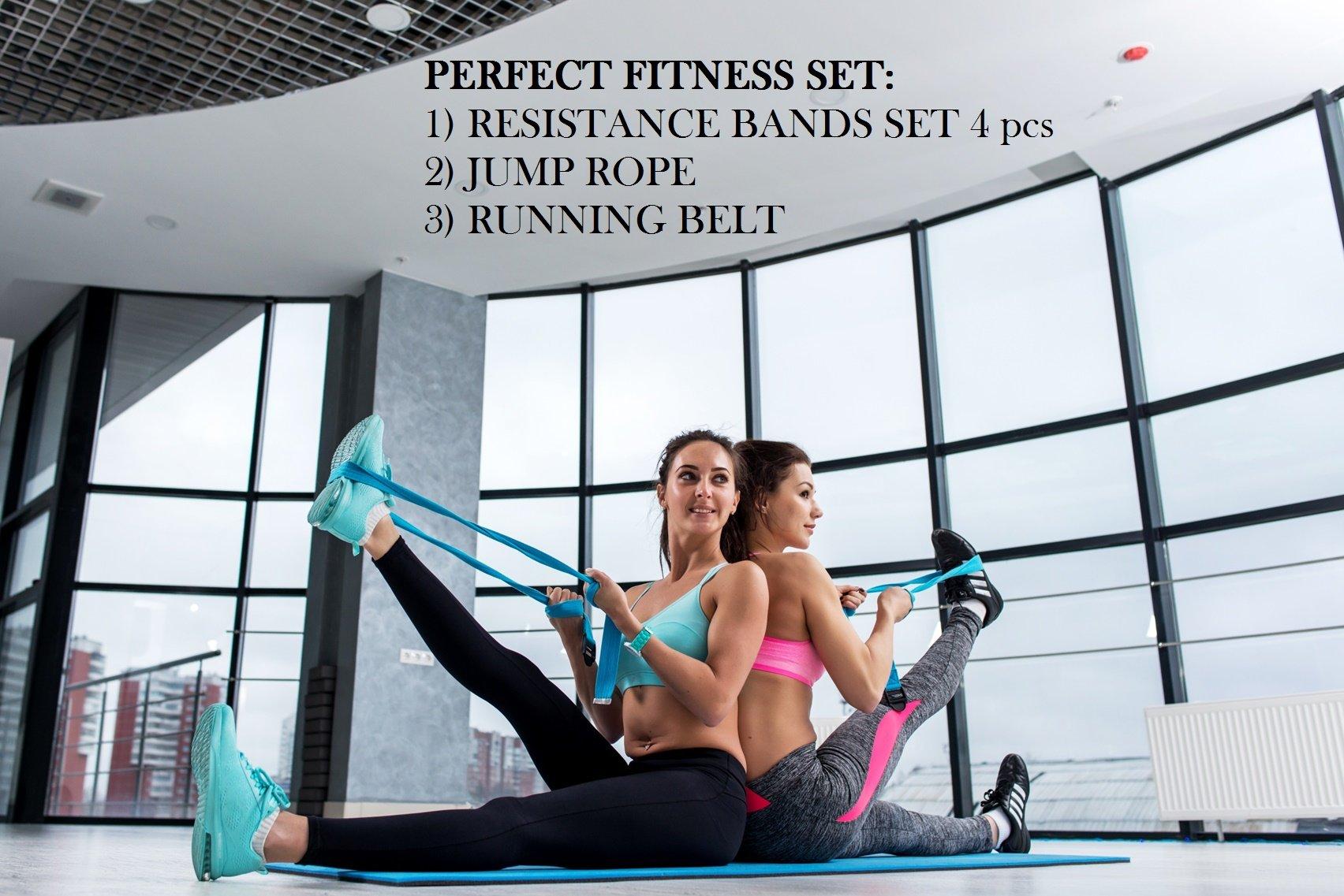 Sportlian Running Belt - Jump Rope - Resistance Bands - Set 3 in 1 for Men Women (Black)