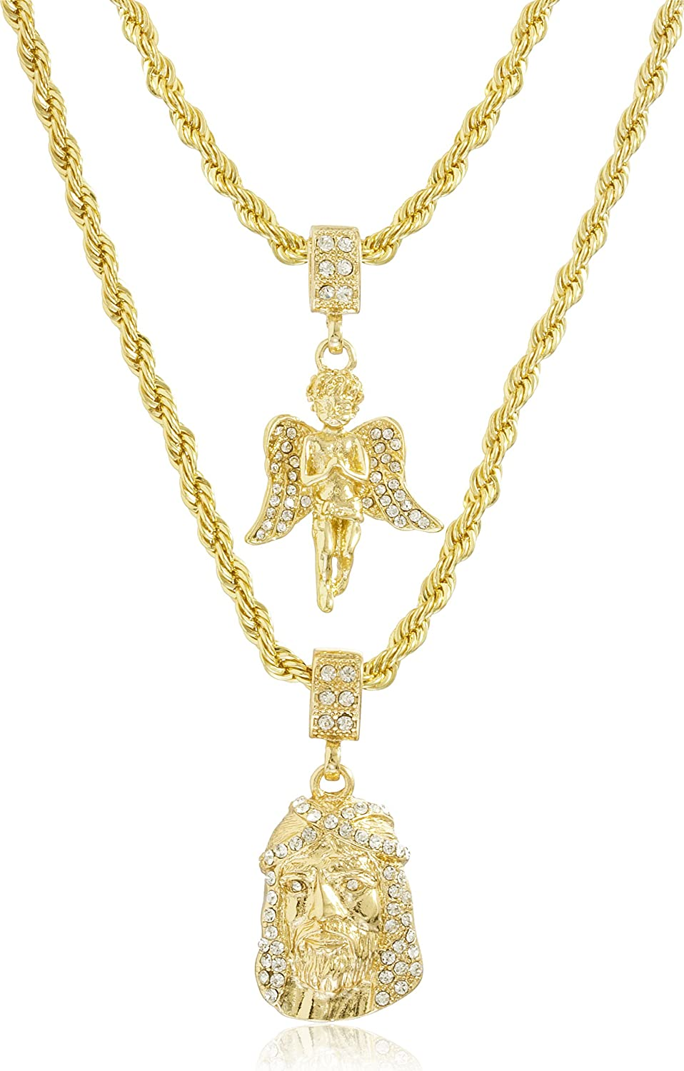 necklace jesus pendants com inch with out c amazon rope layer dp goldtone chain double angel iced