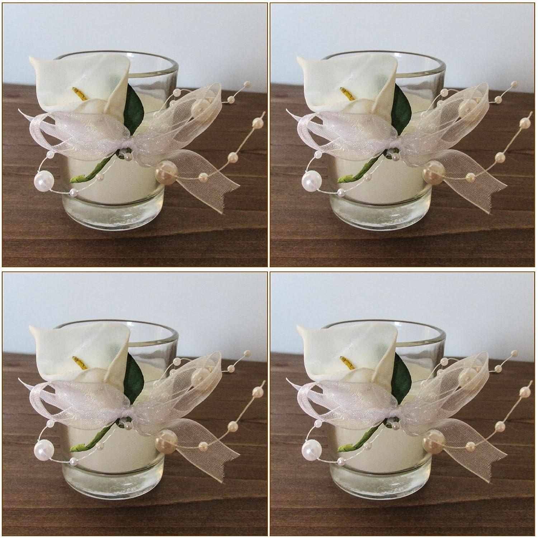 Super Amazon.de: K7plus® 4er Teelicht mit Kerze im Glas mit Schleifen @WF_41