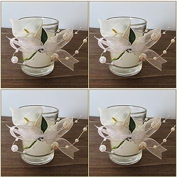 Amazon De K7plus 4er Teelicht Mit Kerze Im Glas Mit Schleifen Und