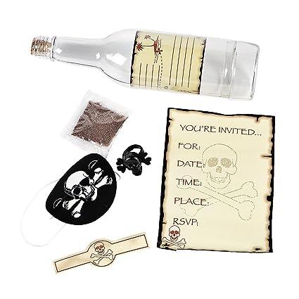 amazon com pirate party skull crossbones invitations in a bottle