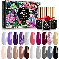 MEFA 23 Pcs Gel Nail Polish Set with Nice Box, Soak Off Nail Gel Polish Nude Gray Purple Glitter Gel with Glossy & Matte…