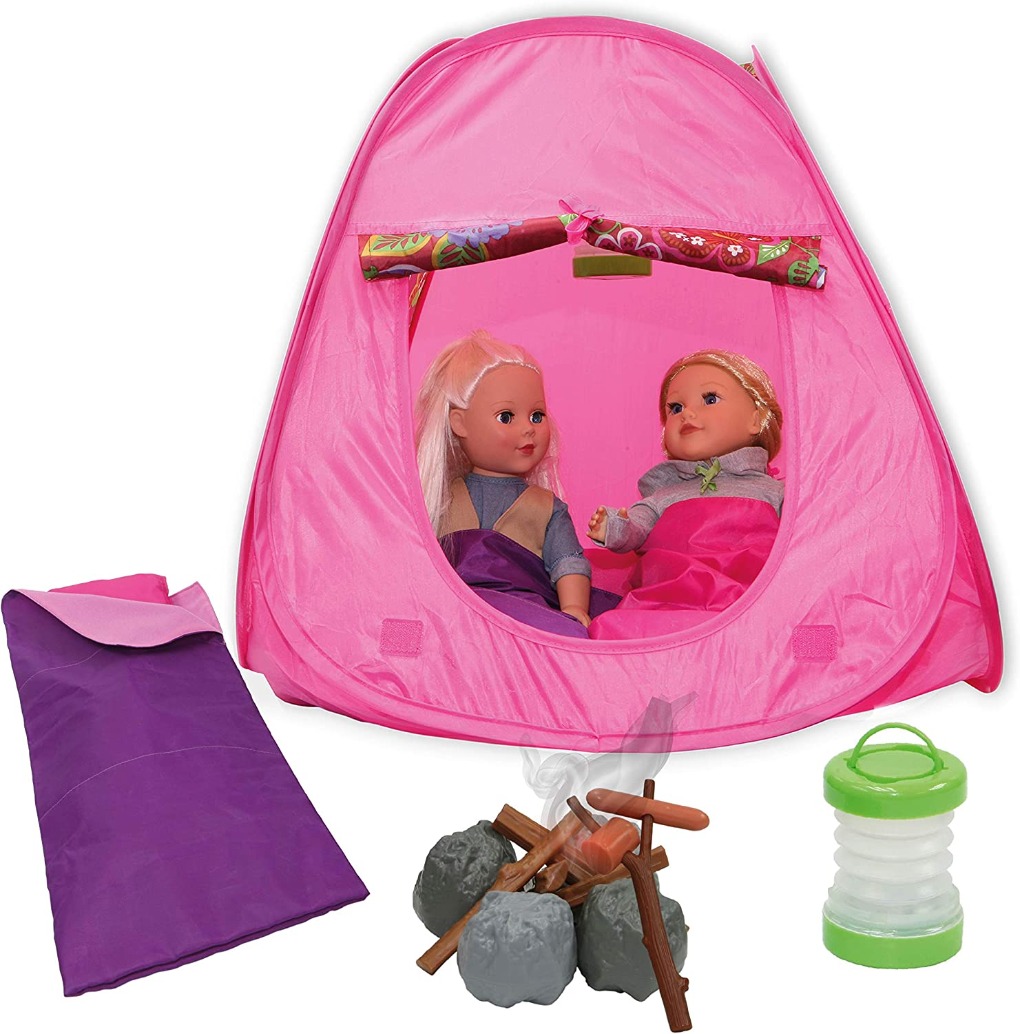 Beverly Hills Doll Collection Camping Out 15 Piece Pretend Playset for 18 Inch Dolls with Pop-up Tent, Firewood, Hotdog, Sausage, Light-up Lantern and Sleeping Bag